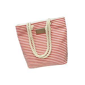 Wultia - Bags for Women Fashion Women Casual Stripe Print Canvas Handbag Ladies Single Shoulder Messenger Bag Bolsa Feminina Red