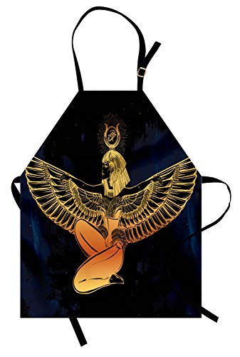 Lunarable Egyptian Apron, Ancient Woman Figure with Outstretched Wings Archaic Occultism Theme Print, Unisex Kitchen Bib with Adjustable Neck for Cooking Gardening, Adult Size, Indigo Yellow]()