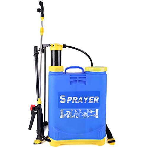 KOEI ZAKA 4 Gallon Backpack Pump Pressure Sprayer pro3.0 Double Shoulder Strap Water Mister for Lawn Garden Farm ()