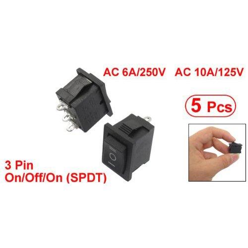SODIAL(R) 5 Pcs SPDT On/Off/On Mini Black 3 Pin Rocker Switch AC 6A/250V 10A/125V
