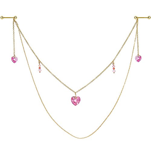 Body Candy Handcrafted Pink Hearts Nipple Chain Created with Swarovski Crystals 14 Gauge 5/8
