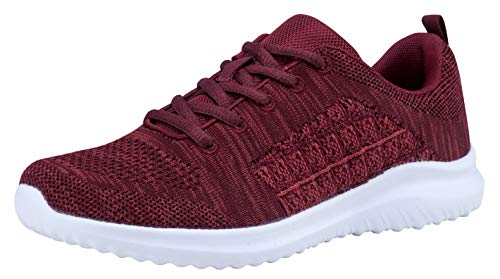 (Women's Fashion Sneakers Flexible Casual Sport Shoes (8.5 B(M) US, Dark Red-5))
