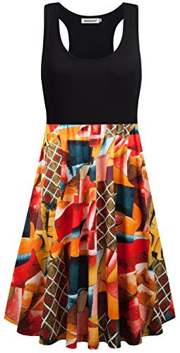 Casual Pocket Dresses for Women,Nandashe Single Woman Simple Style 1920s Guest Lightweight Easy Fit Hawaiian Racerback Stretch Trapeze Beach Sundress Black Orange Extra ()
