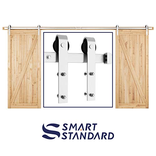 SMARTSTANDARD 13FT Heavy Duty Double Gate Sliding Barn Door Hardware Kit, Two-Piece Track Rails, Stainless Steel, Smoothly and Quietly, Easy to Install, Fit 36-40 Wide DoorPanel(J Shape Hanger)