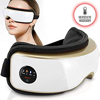 Heated Therapy Electric Eye Massager - Wireless Temple and Eye Massager Tool with Air Pressure and Vibration for Migraine, Built-in Battery, Headache and Stress Relief Equipment - SereneLife SLEYMSG55