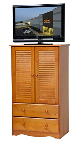 (Palace Imports 5914 100% Solid Wood Petite Armoire/Wardrobe/Closet Honey Pine Color, 32