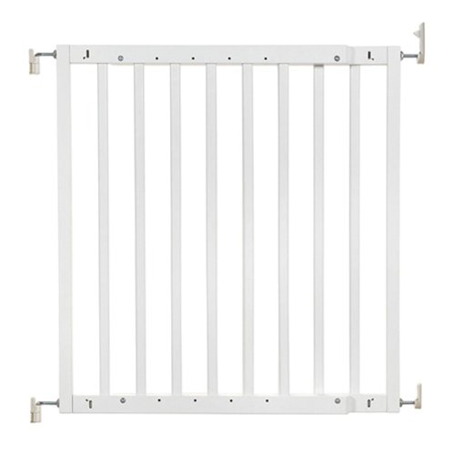 """Primetime Petz Safety Mate Expandable Pet and Baby Gate, Sturdy Wall Mountable Safety Gate for Hallways, Stairs, or Outdoor Use, Fits Openings from 24.5"""" to 41"""", White ()"""
