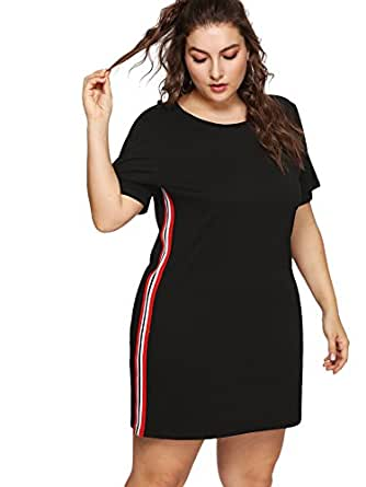 Milumia Plus Size Summer Color Block Cotton Casual Tunic Tops Short Sleeves Comfy Little Black Dress 1x