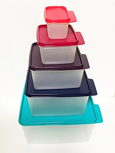 Tupperware Nesting Stackable Storage Square Containers 5 Piece Box Set with Multi-colored Lids Tupperware Keep Tabs -  43201-17712