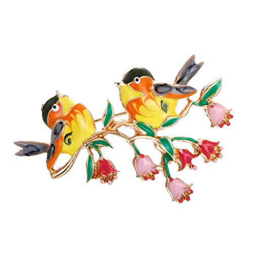 NaditionLadies Fashion Two Bird Brooch Pins Exquisite Girl Sweet Accessories