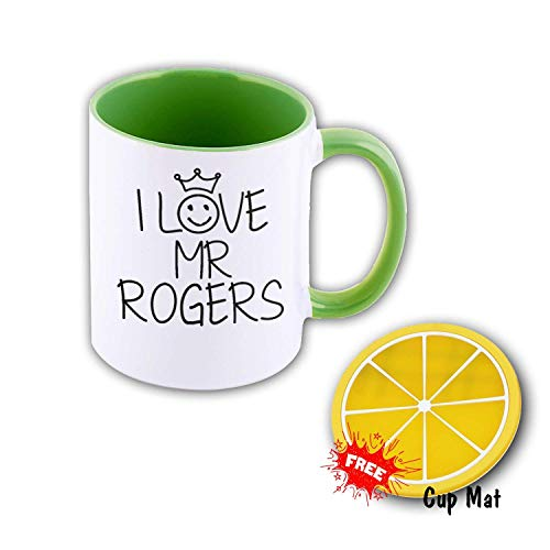 UNigogo Coffee Mugs and Mark Cup are Lovely, Perfect for Drinking Hot Drinks at Work, Customized and Cup Mat I Love mr Rogers