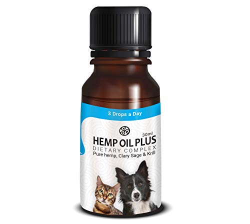 TerraBella Omega 3, 6 & 9 for Your Dogs, Cats, Fish 30ml. Advanced Formula Natural Organic Pure Hemp Extract, Krill Oil, Clary Sage Relaxation, Wellness, Heart Health, Antioxidants, Weight Management