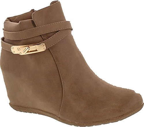 ANNA Cici-9 Women Comfy Almond Toe Platform Hidden Wedge Ankle Bootie,Taupe,8 ()