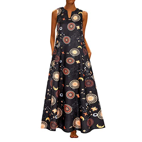 Women Boho Tank Maxi Dress Summer Casual Print V Neck Sleeveless Flowy Swing Evening Party Cocktail Dresses with Pockets (XXX-Large, Black - Food Pan 148