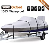 RVMasking Upgraded Waterproof & Ripstop 900D Trailerable Full Size Boat Cover Gray for 17″-19″ V-Hull Runabouts Outboards and I/O Bass Boats, Free Motor Cover