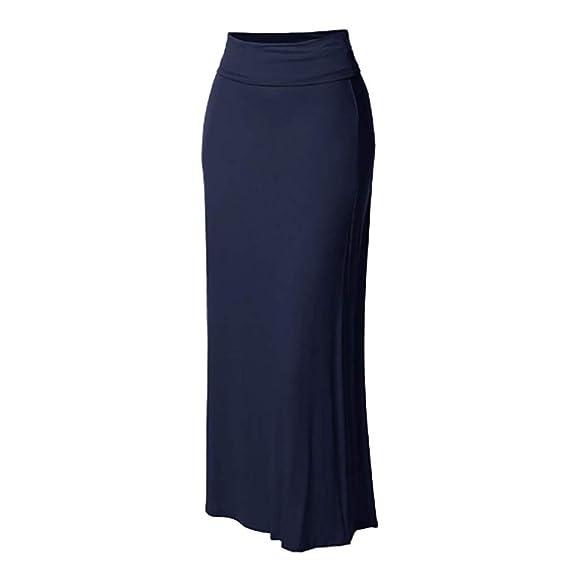 TIFIY Moda Retro Falda Larga Color Sólido Elástica Cintura Alta ...