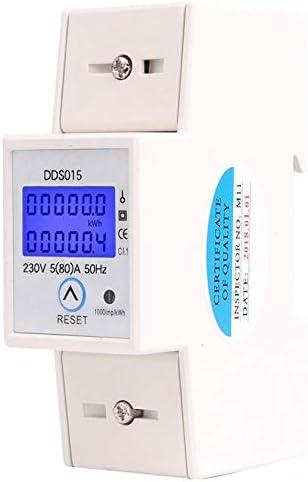 Casinlog Rail din Monophas/é Wattm/ètre Consommation Electrique en watts Compteur d/énergie Electronique kWh 5-80A 230V AC 50Hz avec Fonction de R/éinitialisation