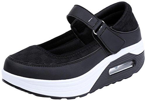 Fashion Sneakers Damesplateau, Wiggen Casual Ademende Werkpompen 5 Kleuren Maat 5,5-9 Zwart