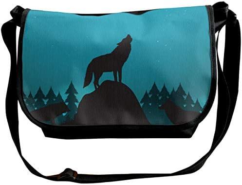 メッセンジャーバッグ ショルダーバッグ オオカミと一緒の夜景色 斜めがけ ワンショルダー バック カバン キャンバス 大容量 超軽量 学校 旅行 メンズ レディース 正規品
