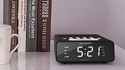 Emerson SmartSet Alarm Clock Radio with AM/FM Radio, Dimmer, Sleep Time and .9 White LED Display, ER100101