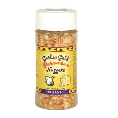 - Garlic Gold Organic Nuggets, Roasted Garlic Seasoning bits with Parmesan Cheese, MSG Free, 2.2-Oz Shaker Jar