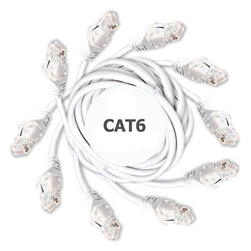 DynaCable Cat6 Ethernet Cable - 3 Foot / 5 Pack - White - High Speed Internet LAN Cable with Snagless RJ45 Connectors For Fast Computer Networking with Professional Grade Copper by DynaCable