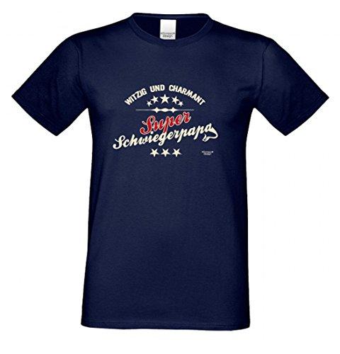 T-Shirt als Geschenk für den Vater - Witzig und Charmant - Ein Danke für den Super Schwiegerpapa mit Humor zum Vatertag, Größe L Farbe 05-Navy
