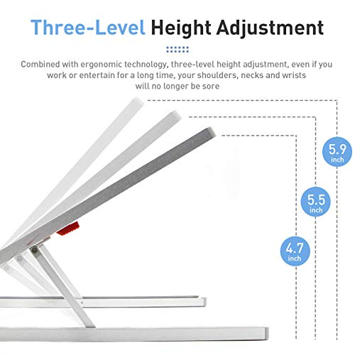 Portable Laptop Stand Adjustable Aluminium Alloy Laptop Stand Foldable Ventilated for MacBook and Notebook Silver