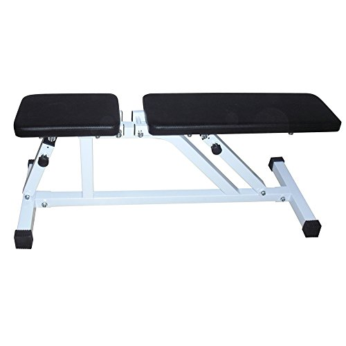 GUJJI FUN Adjustable Dumbbell Stool Fitness Stool Foldable Utility Weight Bench Adjutable Sit Up AB Incline Bench Gym Equipment White & Black by GUJJI FUN