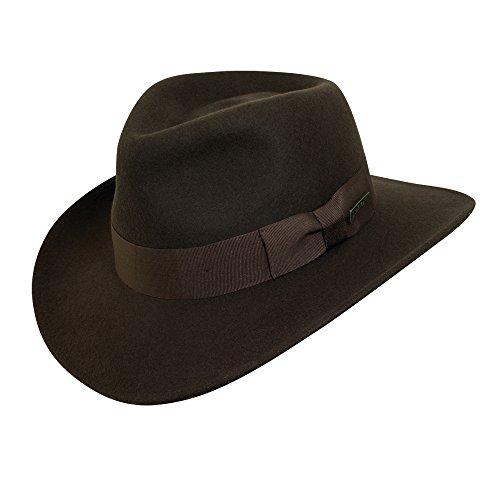 Indiana Jones Men's Crushable Wool Fedora Hat Chocolate Small
