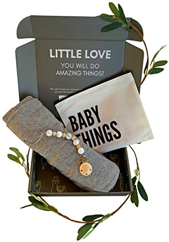 - Baby Gifts for Newborn Boys & Girls| Swaddle Receiving Blanket & Pacifier Clip (Grey)