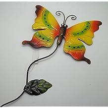 "Indoor Outdoor Metal Garden Yard Stake Yellow Orange Butterfly Sign 21""h #100A"