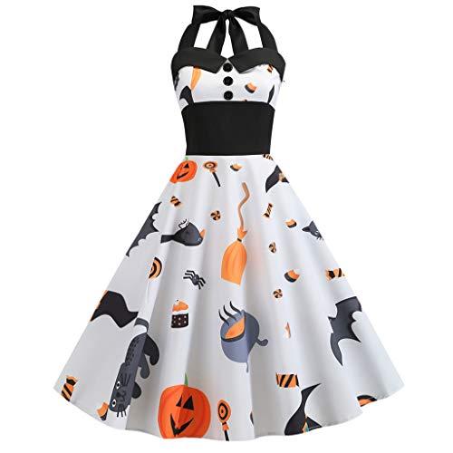 KLFGJ New Ladies Dress Halloween Vintage Sleeveless Bat Costumes Printed Evening Party Dresses ()