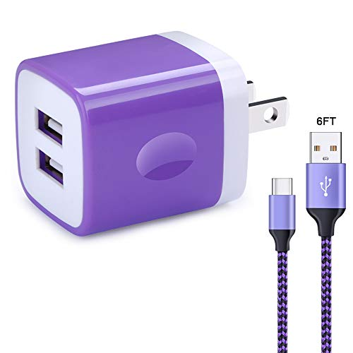 Pixel Wall (Wall Charger Block, Phone Charge Cube CableLovers Adapter Plug with 6ft USB C Cable Charging Cord Compatible Samsung Galaxy S9/S8+, Note 8, Nintendo Switch, Sony Xperia XZ, Google Pixel,OnePlus 5T)
