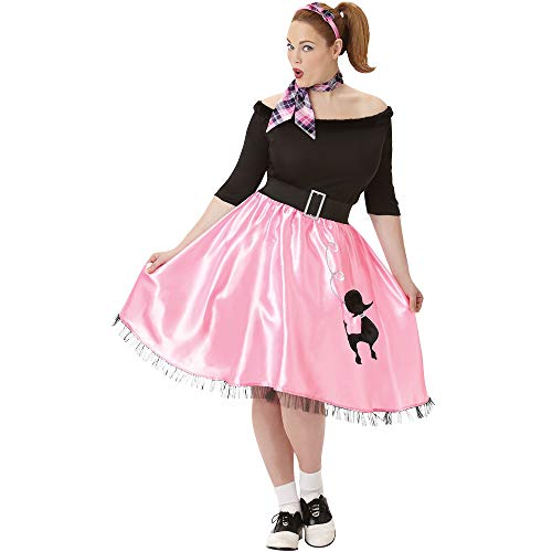 AMSCAN Sock Hop Sweetie 50's Halloween Costume for Women, Plus Size, with Included Accessories (Cheap Halloween Costumes For Women Plus Size)