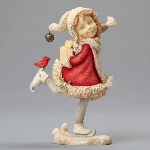 "Enesco Department 56 Heart of Christmas ""Elf Girl On Skates"" Stone Resin Figurine, 3.66"""