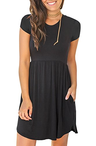 Bigyonger Womens Casual Short Sleeve T-Shirt Dress Swing Pleated Tunic Dresses with Pockets (Dress Short In Empire Sleeve Black)