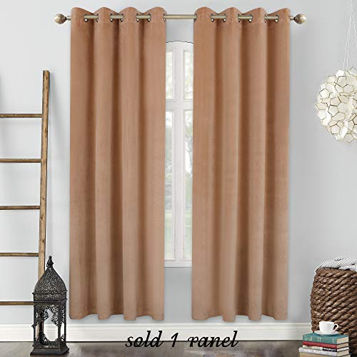 Cheap HOLKING Super Soft Luxury Velvet Curtains Room Darkening Blackout Drapes for Theater Show Studio Villa (Camel 52×84-inch 1Panel)