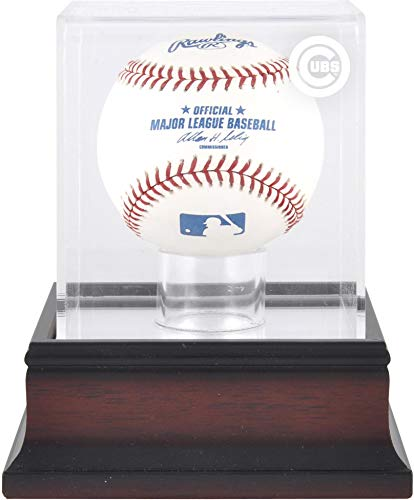 Chicago Cubs Engraved Baseball - Chicago Cubs Antique Mahogany Baseball Logo Display Case