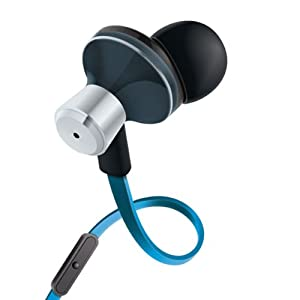 GOgroove Blue In-Ear Earbud Headphones with Hands-Free Calling Microphone , Tangle Free Cord and Noise Isolation - In Line Controls for Music & Calls & 4 sets of Gel Ears for Custom Comfort