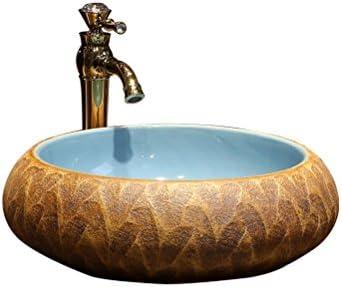 アートの上カウンター盆地のバスルームセラミック洗面レトロ洗面ラウンドステージウォッシュ(43x15cm) P3/18