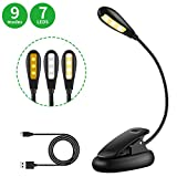 MINGER 7 LED Book Light Reading Light 9 Level Warm White & Cool Eye-Care Reading Lamp Rechargeable Easy Clip on,Up to 60 Hours,Light for Books in Bed. Perfect for Bookworms & Kids (Book Light)