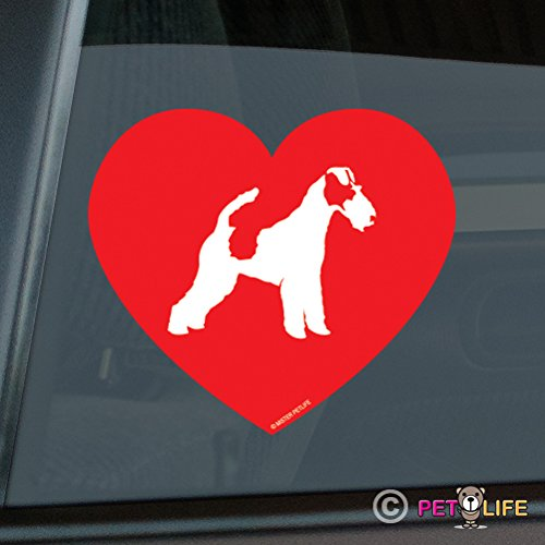 Love Fox Terrier Sticker Vinyl Auto Window smooth wire (Smooth Fox Terrier Sticker)