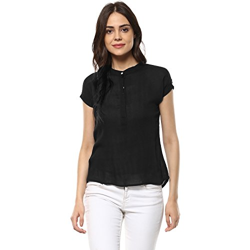 mayra Women's Rayon Black Color Short Sleeve Top