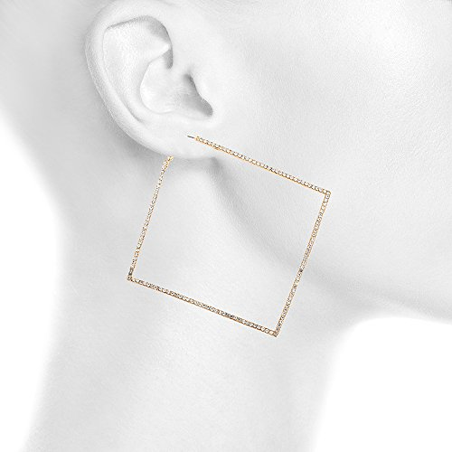 Large Diamond Shape 4.25 Inch Hoop Earrings with Clear Stones - Goldtone or Rosegold-tone (Goldtone)