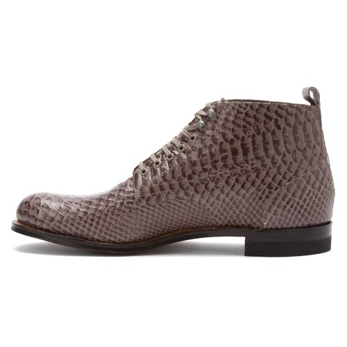 Stacy Adams Madison Salut Anaconda Botte Pour Homme En Cuir Gris