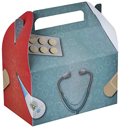 Hammont Doctor/Nurse Treat Boxes 10 Pack  625quot x 375quot x 35quot Party favor Treat Container Cookie Paper Boxes Cute Designs Perfect for Parties and Celebrations