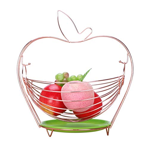 (Metal Fruit Plate, European Dried Fruit Dish, Cradle-type Drain Fruit Basket for Home Living Room Decoration Candy Dish (Color : Rose gold))