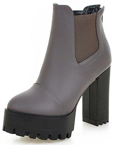 Summerwhisper Women's Comfy Elastic Almond Toe Platform Short Chelsea Boots Block High Heel Slip on Ankle Booties