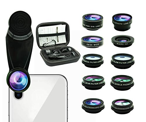 (11 in 1 Phone Camera Lens Kit, 0.63Wide Angle Lens+15X Macro+198°Fisheye+2X Telephoto+Kaleidoscope3/6+CPL/Flow/Star/Radial Filter/Universal Clip,for iPhone Samsung Huawei Andriod Smartphone)